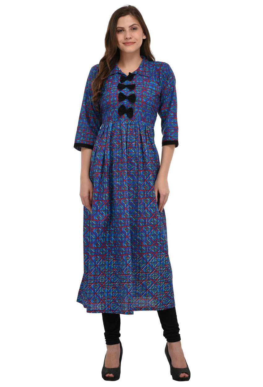 Readymade Multicolor Cotton Printed Partywear Kurti