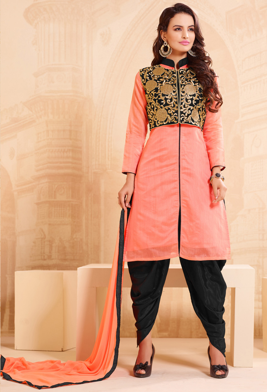 Peach And Black Chanderi Dhoti Style Suit