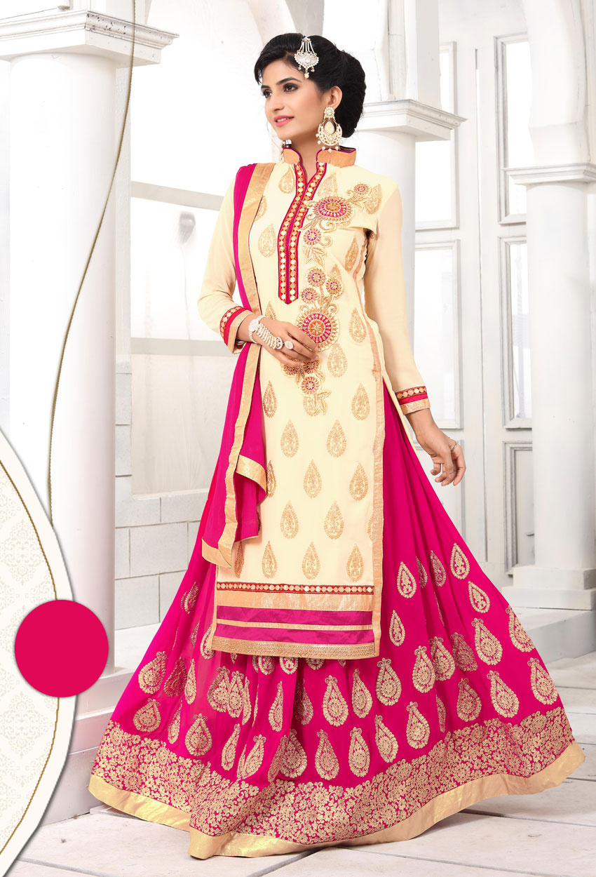 Semi Stitched Cream And Pink Georgette Sharara Suit