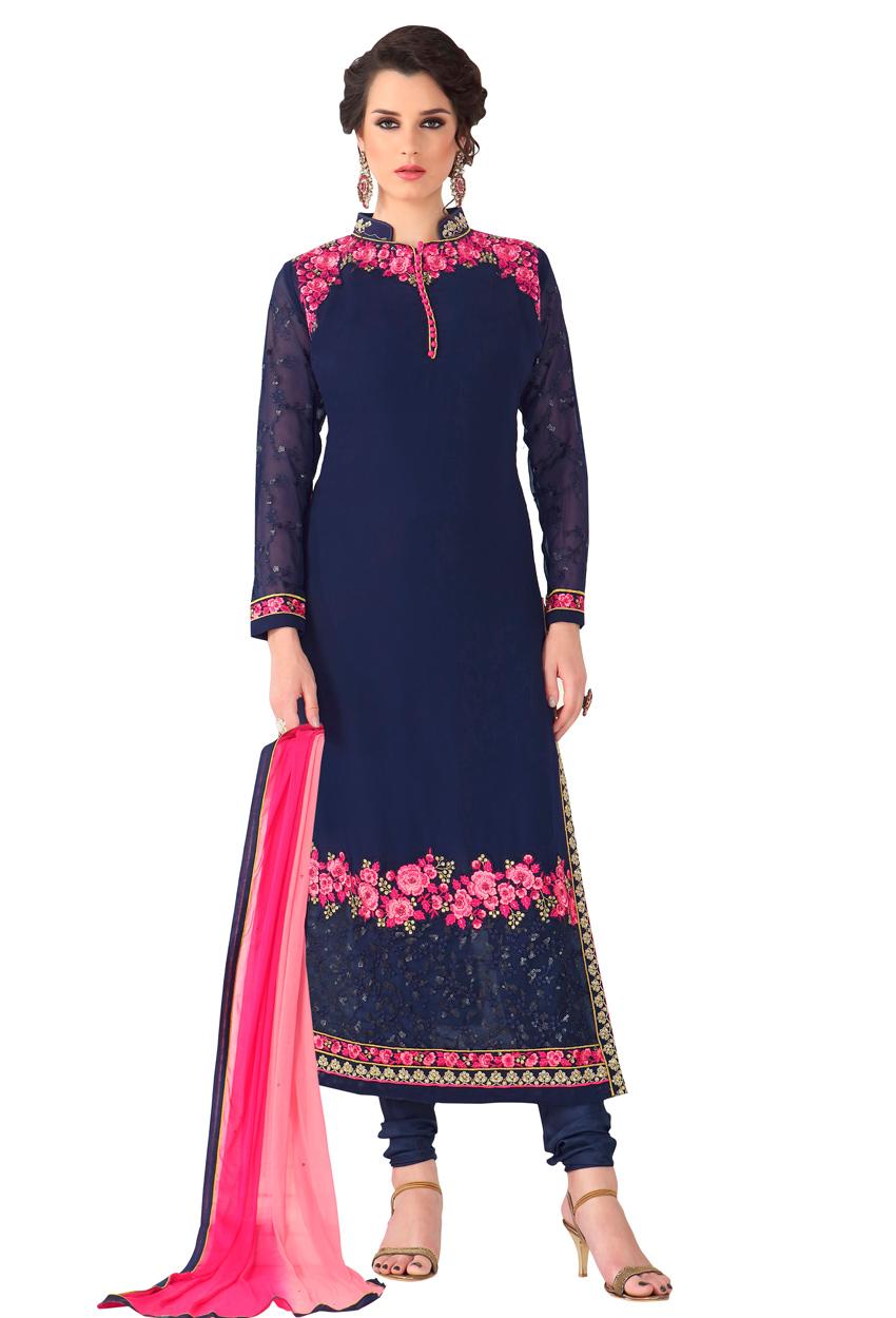 Semi Stitched Blue Embroidery Salwar Kameez Dupatta