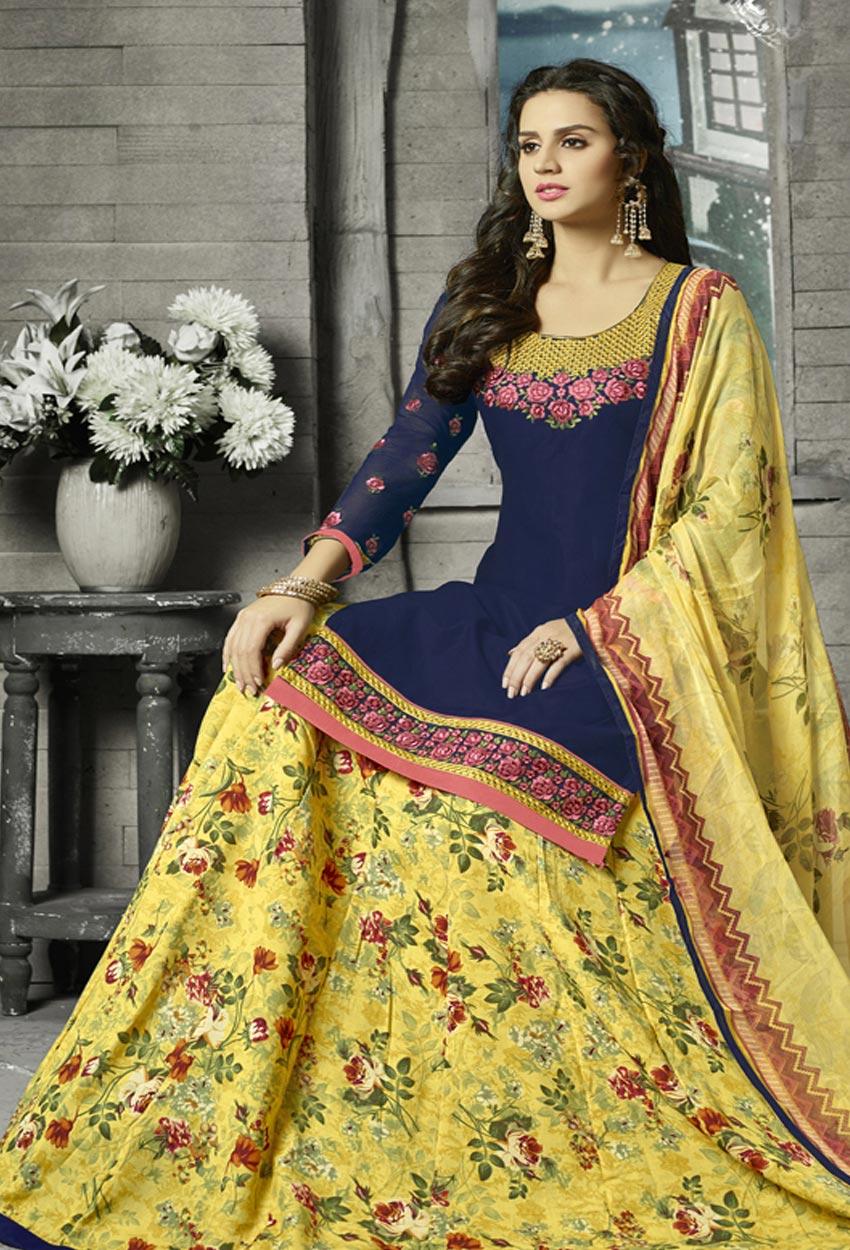 Navy Blue Cotton Sharara Salwar Suit