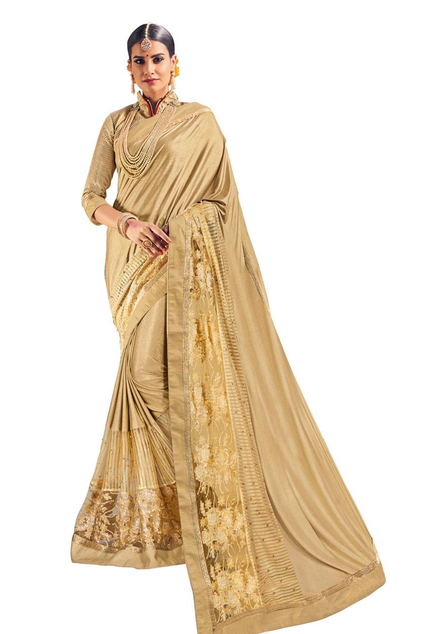Gold Lycra And Net Designer Saree